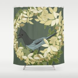 Stellar's Jay and Botanical Illustration Art Series Shower Curtain