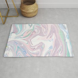 Abstract pastel pink purple teal watercolor marble Rug