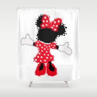minnie mouse Shower Curtains featuring Minnie Mouse Paint Splat Magic by Whimsy and Nonsense