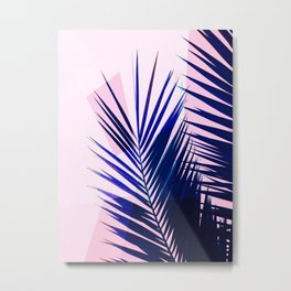 Indigo Palm Leaves on Pink Pastel Geometry #tropical #decor #lifestyle Metal Print