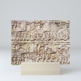 Bas relief depicting a battle, Bayon Buddhist temple at Angkor Thom, Siem Reap, Cambodia Mini Art Print