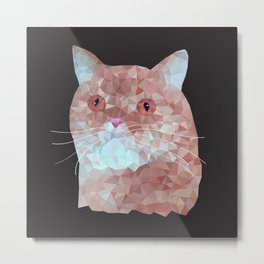 Low poly red cat 1 Metal Print