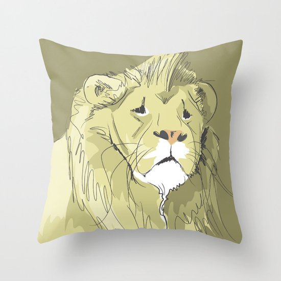 The Sad Lion Throw Pillow