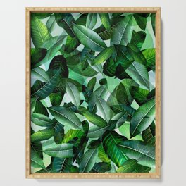 Banana palm leaf tropical jungle green Serving Tray