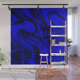 Black and Blue Swirl - Abstract, blue and black mixed paint pattern texture Wall Mural