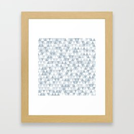 shades of ice gray triangles pattern Framed Art Print