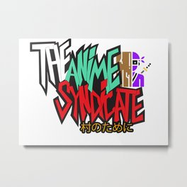 The Anime Syndicate Ninja White w/ For The Village Kanji Metal Print