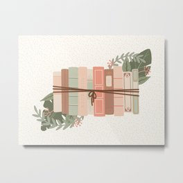 Tied Books with Foliage - Green & Pink Metal Print