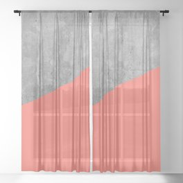 Living Coral on Concrete Geometrical Sheer Curtain