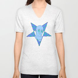 VIN CHEESEL (Pizza Demon in NEON EVIL BLUE) Unisex V-Neck