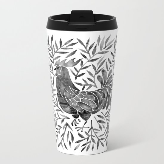 Le Coq – Watercolor Rooster with Black Leaves Metal Travel Mug