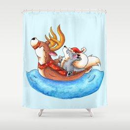 Pool Party Santa Shower Curtain