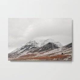 Whiteside peak covered in snow. Brackenthwaite, Cumbria, UK. Metal Print