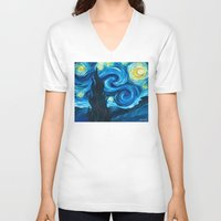 starry night V-neck T-shirts featuring Starry Starry Night by Jade Cohen