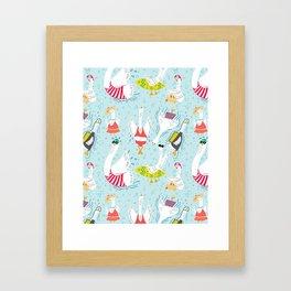 Seven Swans a Swimmin' Framed Art Print
