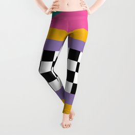 Checkered pattern grid / Vintage 80s / Retro 90s Leggings