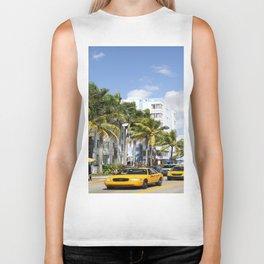 Yellow Cabs On Ocean Drive Biker Tank