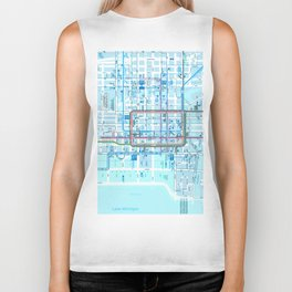 Chicago map in blue Biker Tank