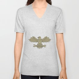 American Eagle Clutching Spanner Drawing Unisex V-Neck