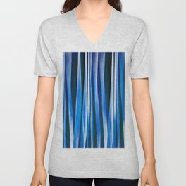 Harmony and Peace Blue Striped Abstract Pattern Unisex V-Neck
