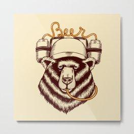 Bear and beer Metal Print