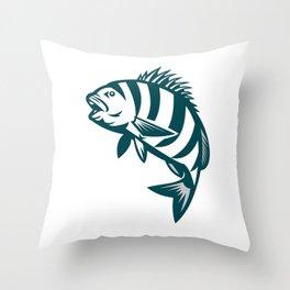Sheepshead Fish Jumping Isolated Retro Throw Pillow