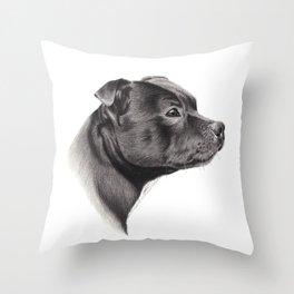Staffy Throw Pillow