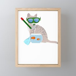 Cat Snorkeling Cat Fish Bowl Framed Mini Art Print