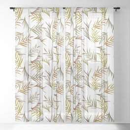 Watercolor tropical leaves pattern Sheer Curtain