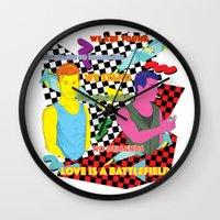 battlefield Wall Clocks featuring Love is a battlefield by JetProArt