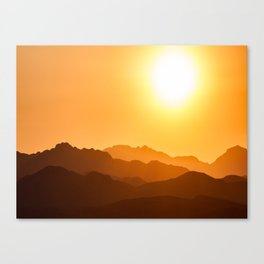 Orange Monochromatic Mountain Landscape Parallax Silhouette Yellow Orange Sunset Hues Canvas Print