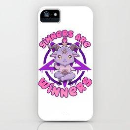 Sinners are Winners - Creepy Cute Baphomet T-Shirt iPhone Case