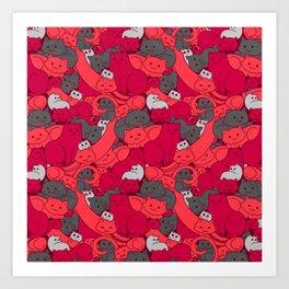 Purrrfect Pattern (Red) Art Print