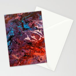 Red blue abstract fluid art Stationery Cards