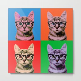 Pop Art Cat in Four Colors Metal Print