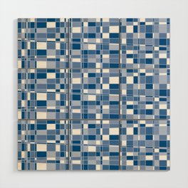 Mod Gingham - Blue Wood Wall Art