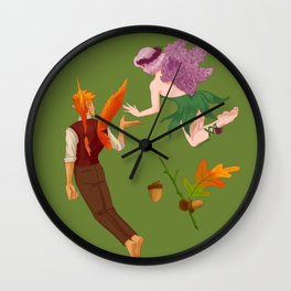 A Spring and Fall Faerie Wall Clock