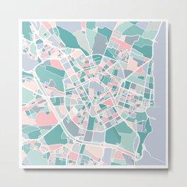 Valencia City Map Art Metal Print