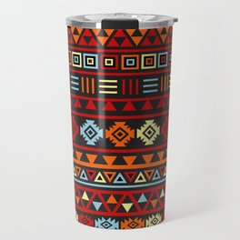 Aztec Influence Ptn IV Orange Red Blue Black Yellow Travel Mug