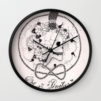 pirate Wall Clocks featuring Pirate by Thrashin