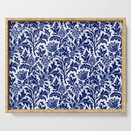 William Morris Thistle Damask, Cobalt Blue & White Serving Tray