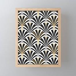 Art Deco Fan Pattern, Black and White Framed Mini Art Print