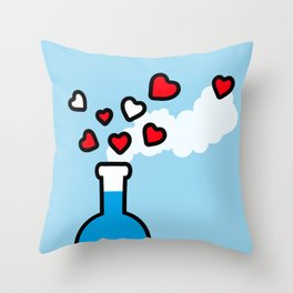 Blue and Red Laboratory Flask Throw Pillow