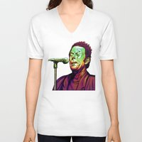 tom waits V-neck T-shirts featuring Waits by Mark Matlock