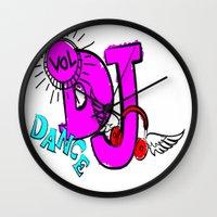 dj Wall Clocks featuring DJ by Christa Bethune Smith
