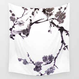 Plum blossom sumie ink painting Wall Tapestry