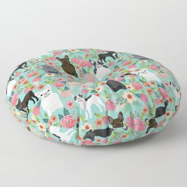 Frenchie floral french bulldog cute pet gifts dog breed must haves florals french bulldogs Floor Pillow