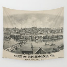 Vintage Pictorial Map of Richmond VA (1876) Wall Tapestry