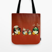 cartoons Tote Bags featuring Penguin family  by mangulica illustrations