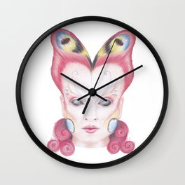 Peacock Butterfly Girl Wall Clock